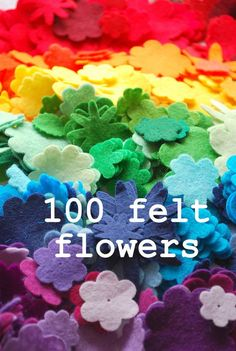 100 felt flowers small medium sizes 30 colours by bettyoctopus, Shops, Felt Flowers, Headbands, The 100, Colours, Activities, Crafts, Medium, Etsy