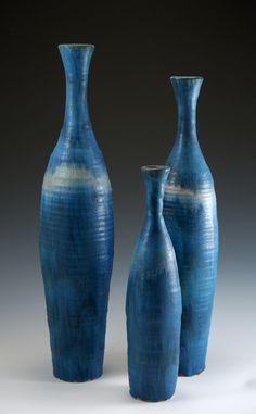 Bottles in Blue: Daniel Slack: Ceramic Bottles Raku Pottery, Pottery Sculpture, Pottery Art, Pottery Ideas, Ceramic Bowls, Ceramic Art, Vintage Ceramic, Slab Ceramics, Clay Vase