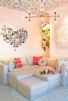 love heart photo feature wall & feature ceiling #minimakeover #inspiration