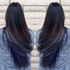 Pretty blue hair ombre with long straight black hair girls