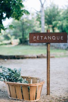 Pancarte mariage Pétanque par Atelier Blanc Organisation et Décoration Photographie Ingrid Lepan