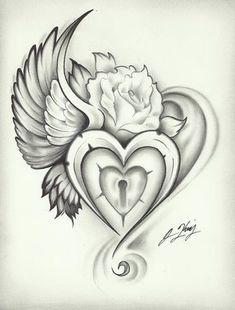 wing heart lock rose tattoo even tho I already have so many bird related tattoos Heart Lock Tattoo, Sacred Heart Tattoos, Tattoo Key, Rose Heart Tattoo, Rip Tattoo, Key Tattoos, Tatoo Art, Body Art Tattoos, Tattoo Drawings