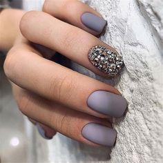 grey Acrylic short square nails design for summer nails, Short square nails color ideas, Natural gel short square nails design, Pretty and cute acrylic nails design Cute Acrylic Nail Designs, Short Nail Designs, Cute Acrylic Nails, Nail Polish Designs, Cute Nails, Gel Nails, Smart Nails, Nail Nail, Wedding Nail Polish