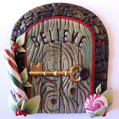 Clayworks by Kim Detmers: Elf Door. Xmas Elf, Christmas Fairy, Polymer Clay Fairy, Polymer Clay Projects, Fundraising Crafts, Elf Door, Garden Solutions, Clay Fairies, Fairy Doors