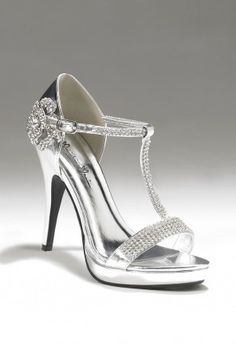 """The rhinestone shoes features:•4"""" heel  •T strap with rhinestone flower•Adjustable ankle strap•1\2 inch platform•Non skid sole"""