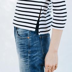 striped side split tee and jeans #style #fashion