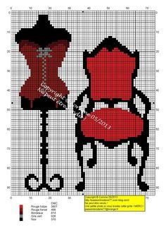 0 point de croix corset sur mannequin et fauteuil rouge - cross stitch corset on dress form and red armchair
