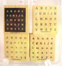 Stampin Up Alphabits 2005 Retired Stamp Set Mounted #StampinUp #RubberWoodMounted