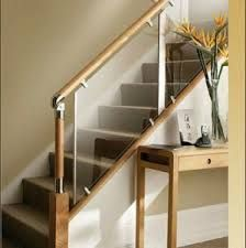 45 Luxury Glass Stairs Ideas - The function of any railing system is to add safety to a staircase while adding beauty to the home or business. A carefully designed stair railing wil. Wood Railings For Stairs, Indoor Railing, Modern Stair Railing, Rustic Stairs, Stair Railing Design, Loft Stairs, Stair Decor, Staircase Railings, Modern Stairs