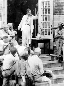 Huey Long speaking to a rural crowd on the courthouse steps