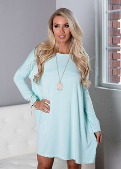 Today Is the Day Piko Tunic Dress Mint - Modern Vintage Boutique