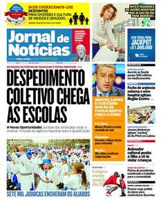 """A capa do JN desta terça-feira, 15 de maio. Destaque para os despedimentos nas """"Novas Oportunidades""""."""