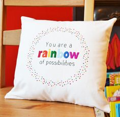 Rainbow Cushion Hand Embroidered Marnie Makes Print 'You are a rainbow of possibilities'