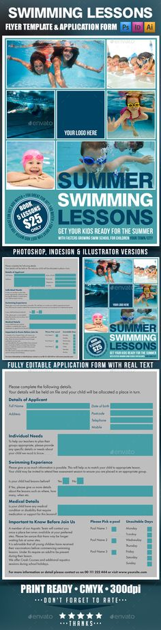 Summer Swimming Lessons Flyer Template by DESIGNROOM1229 Summer Swimming Lessons Flyer Template Clean design for promoting your swimming pool lessons. Its very easy to edit as you have In
