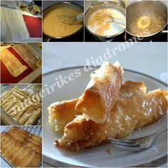 Γαλακτομπουρεκάκια ρολά Greek, Dairy, Cheese, Business, Desserts, Recipes, Food, Tailgate Desserts, Deserts