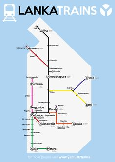 This is a map of the main Sri Lanka train/rail network. If you want the Sri Lanka rail schedule, we've included an image with the main times also.