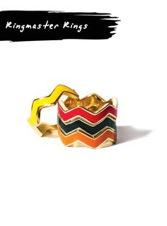 Mix & Match with these four rings from mark's Ringmaster Rings! #fashion #accessories #chevron #yellow #black #pink #orange