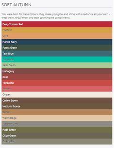 Farbpalette des Herbst - Farbtyps