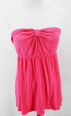 Summer Rockabilly Bright Melon Pink Low Cut Cinch Key Hole Tube Top Shirt Sz L