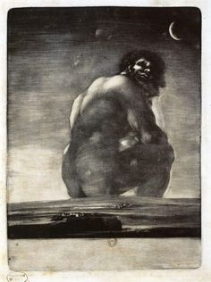 Francisco de Goya (Spanish, 1746–1828): Colossus (Coloso; aka The Giant), 1814-1818. Burnished aquatint etching, Biblioteque Nationale de France, Paris, France.