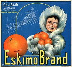 ESKIMO BRAND. Orange Label. Valencia (Spain)