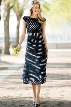 Dot Print Georgette Dress by JG Hook®: Classic Women's Clothing from #ChadwicksofBoston $14.99
