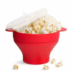 Popcorn maker is perfect to make popcorn at anytime. It is perfect to home, party, dormitory and so on. Especially suitable for make healthy popcorn. Just pour popcorn kernels into the popcorn maker, put it into microwave, and get a bowl full of popcorn. Microwave Popcorn Bowl, Tapas, Popcorn Containers, Healthy Popcorn, Popcorn Bucket, Cake Tray, Pop Corn, Four Micro Onde, Snack Bowls