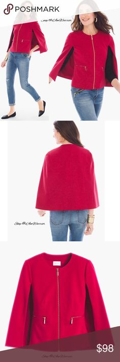 Chico's NWT red zip cape jacket Gorgeous impeccably tailored red cape jacket with modern gold zip closure. A beautiful statement piece that pair nicely with denim or dress pants. Chico's size 0 is equal to ladies small (4-6). Retailed at $139. Please read my bio regarding closet policies prior to any inquires. Chico's Jackets & Coats Capes