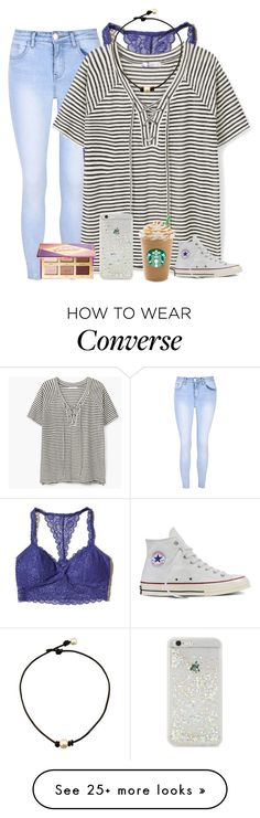 """""""when your bestfriend gets you a Victoria's Secret bralette"""" by alexislynea-13 on Polyvore featuring Glamorous, Hollister Co., MANGO, ban.do, Converse and tarte"""