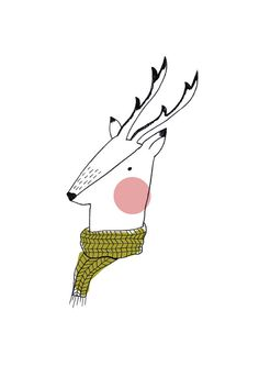 Follow Scaapi on Etsy for inspiration - Winter Deer Art Print. Illustration. Deer. Woodland. by HelloPants, $25.00