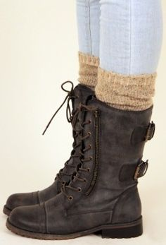Never thought of putting tall socks with combat boots but really loving it!