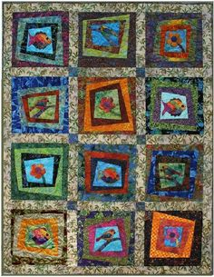 A great scrappy quilt - Natural Wonders features fusible applique fish, flowers and birds. If you have scraps and love nature, this quilt is for you. Scrappy Quilt Patterns, Batik Quilts, Quilt Blocks, Tropical Quilts, Colorful Quilts, Quilting Projects, Quilting Designs, Pineapple Quilt Pattern, Triangle Quilt Tutorials