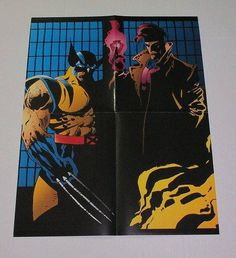 Rare vintage original 1990's Marvel Comics 22 by 17 inch Uncanny X-Men Wolverine and Gambit comic book store dealer promotional promo poster