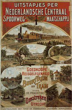 Affiche van de Nederlandsche Centraal Spoorweg Maatschappij. Poster of the Dutch Central Railway Company.