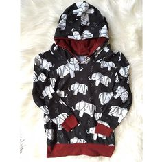 UNISEX organic origami elephants hoodie with burgundy contrast (2-3T)