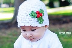 Baby Christmas Hat, Christmas Baby Hat, Newborn Christmas Hat, Crochet Christmas Hat, Christmas Photo Prop, Crochet Holly Hat