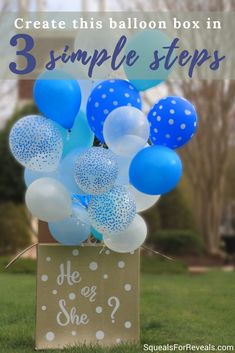 Don't miss this post on creating an easy and beautiful DIY gender reveal balloon box! Fall Gender Reveal, Simple Gender Reveal, Gender Reveal Balloons, Gender Party, Baby Gender Reveal Party, Balloon Box, Reveal Parties, Baby Shower Themes, Shower Ideas