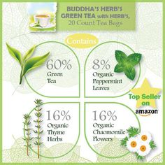 Buddha's Herbs Premium blend of Green Tea with Herbs is purposefully formulated to wash away fatigue, enhance vitality and supply antioxidants.