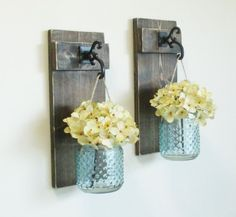 New...Rustic Chic Farmhouse Wall Decor on Stained Boards...Set of 2 Individual Hanging Glass Hobnail Jars Scones...Turquoise Jars