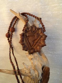 Solar plexus. Olive wood necklace by ValleyWWKing on Etsy
