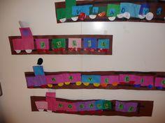 Map juf Ineke Thema verkeer: treintjes met voornaam