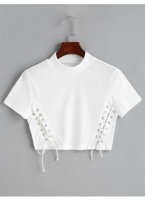 Summer Solid Lace Full High Crop Fashion Cropped Knitted Lace Up Top Fashion 2017, Girl Fashion, Fashion Outfits, Womens Fashion, Diy Clothing, Lace Knitting, High Collar, Everyday Outfits, Shirt Style