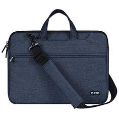 PLEMO コンピュータバッグ ラップトップ ショルダーバッグ デニム布地 荷物に取付可能 (15.6インチ)