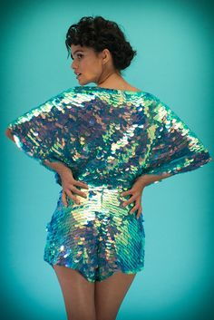 Image of PRISM Collection | MELLA Sequin Cape Playsuit | sunbird