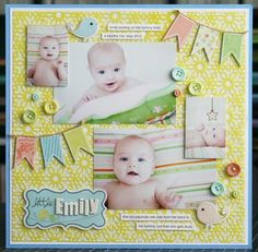 little emily - a layout share fancy pants is one of the amazing sponsers for the CK dream team. they generously sent out a box a few weeks ago with one of their new collections, called baby mine. it's an adorable baby collection, fitting for both. Baby Boy Scrapbook, Scrapbook Bebe, Baby Scrapbook Pages, Scrapbook Sketches, Scrapbook Page Layouts, Scrapbook Paper Crafts, Scrapbook Cards, Christmas Scrapbook, Baby Mine