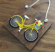 Quadro String Art Bicicleta no String Art Templates, String Art Patterns, Doily Patterns, Nail String Art, String Crafts, Resin Crafts, Bicycle String Art, Hand Embroidery Art, Thread Art