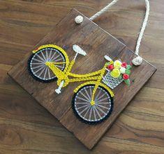 Quadro String Art Bicicleta no Bicycle String Art, String Wall Art, Nail String Art, String Crafts, Paper Crafts, Resin Crafts, String Art Templates, String Art Tutorials, String Art Patterns