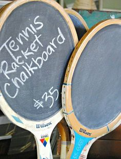 Tennis racket chalkboard