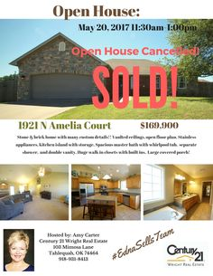 #EdnaSells, Open House Cancelled, Sold, Tahlequah Homes