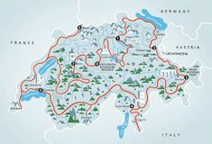 The Grand Tour of Switzerland encompasses several top attractions and myriad new ways to absorb all the local flavors. Switzerland Summer, Map Of Switzerland, Switzerland Itinerary, Switzerland Vacation, Zermatt, Lugano, Lausanne, Entlebucher, Road Trip Map